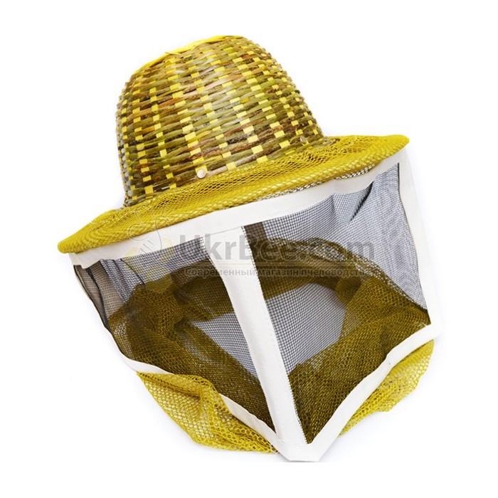Маска пчеловода с металлической сеткой, шляпа бамбук (рис 1)