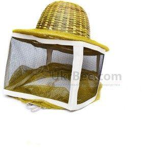 Маска пчеловода с металлической сеткой, шляпа бамбук (рис 3)