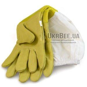 "Перчатки пчеловода желтые ""Air-Premium"" (кожа+сетка) рис. 1"