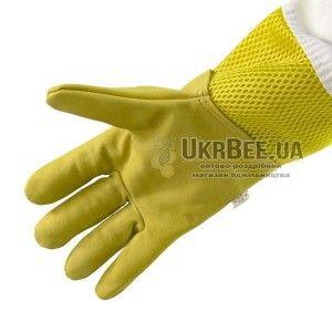 """Рукавиці бджоляра жовті з вентиляцією """"Air-Premium"""" (шкіра+сітка) мал. 3"""