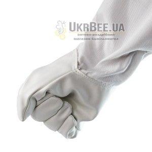 Перчатки пчеловода белые (кожа+коттон)