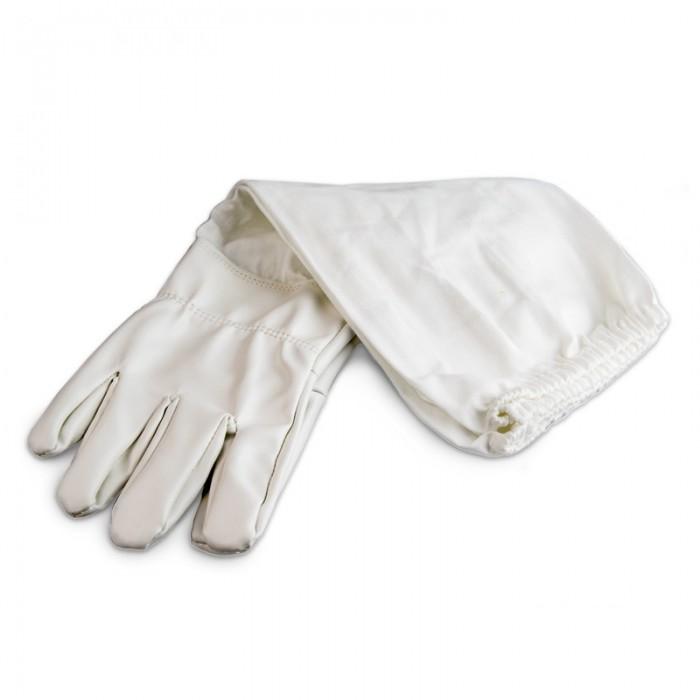 Перчатки пчеловода белые (кожа+коттон), рис. 1