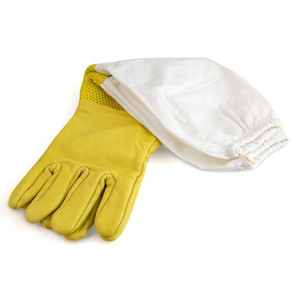 """Рукавиці бджоляра жовті з вентиляцією """"Air-Premium"""" (шкіра+сітка) мал. 1"""